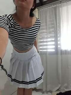Tennis Skirt 2 Strips White