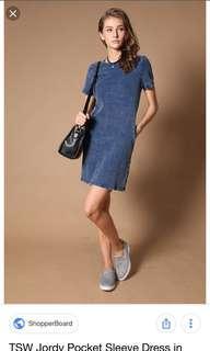 🚚 TSW Jordy Pocket Sleeve Dress (Light Denim)
