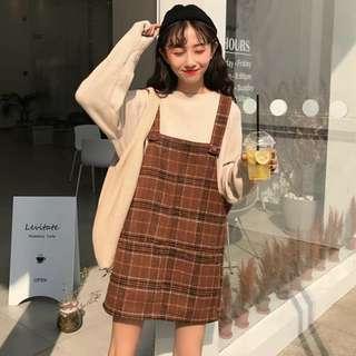 [PO] ulzzang checkered pinafore dress