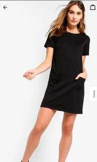Basic double pockets black dress