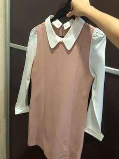 Pink white shirt dress