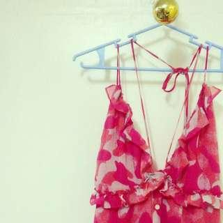 Ruffled pink backless floral dress