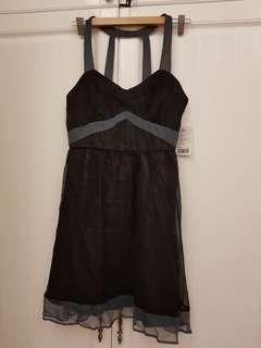 🚚 歐美少女品牌真絲黑色露背洋裝