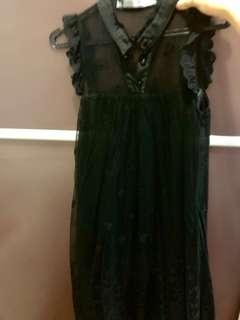 Black lace dress korea import