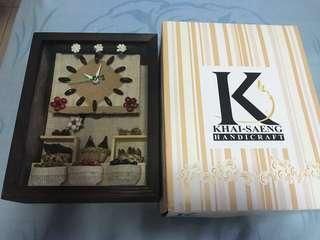 Clock display in wooden box
