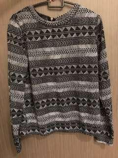 H&M Black Sweater with Patterns