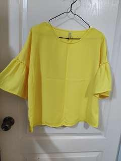 Stradivarius yellow blouse ruffle sleeves