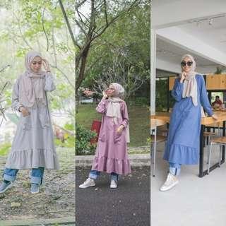 FRILL LONG TOP baju labuh peplum blouse dress abaya refin abayah jubbah jubah