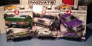 Hot Wheels Car Culture Japan Historics 2 510, C210 Skyline and Laurel