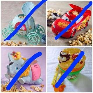 Tokyo Disneyland Disneysea Popcorn Bucket Container with strap - Cinderella princess pumpkin carriage, cars lightning mcqueen, dumbo flying elephant and Timothy mouse, chip and dale rescue rangers