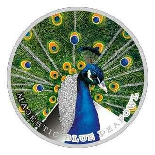 2 $ 2019 Niue Island - Majestic Blue Peafowl Peacock