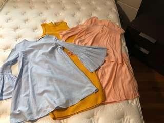Bundle 2: Sandro cut label top and skirt, Zara dress with skorts