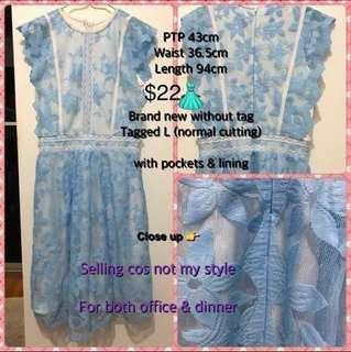 🆕Pocket blue white lace dress