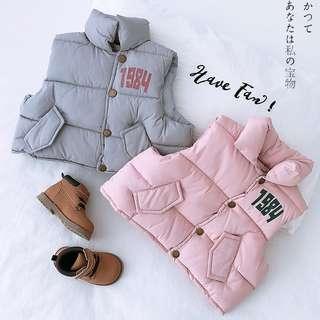 🚚 【零碼出清】寶寶冬裝休閒夾棉馬甲棉襖背心 /粉色90碼