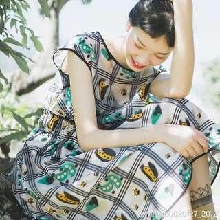 🚚 綠格瓢蟲圖案歐根紗法式復古洋裝