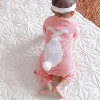 🚚 寶寶秋冬皮粉背影兔針織連身衣外出裝