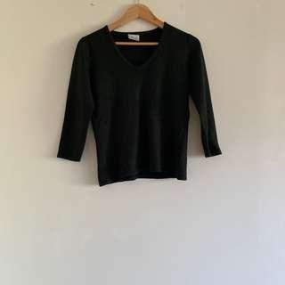 Black v neck knit top