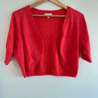 Red orange short cardigan