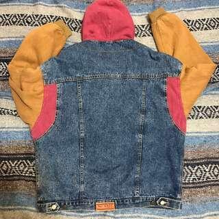 💟🧣💟-古著異質材質,多色拼接牛仔夾克