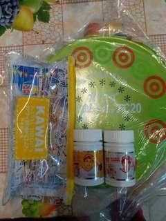 全新 kawai 肝油丸套裝(肝油丸50粒+肝油鈣丸50粒)連文具加充氣囊