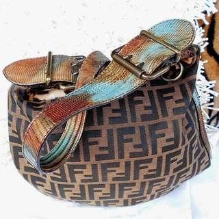 Authentic FENDI Monogram Zucca Pony Hair Crocodile Skin Saddle Bag