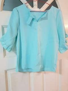 <BRAND NEW WITH TAG> PALE BLUE BOTTON BLOUSE WITH BELL SLEEVES