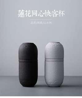 便携旅行功夫茶具日式陶瓷黑陶水杯个人办公泡茶杯