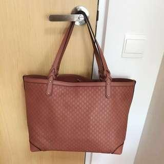 Gucci Brown Micro Guccissiman Leather Medium Craft Tote