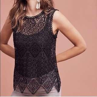 Anthropologie XS Lace Shell Sleeveless Top