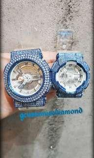 Customise turquoise swaroski diamond in couple mode/turquoise gshock & baby g /unique design/do follow us on instagram #gcustomise for more video