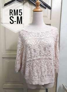 Peach knitted lace top