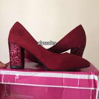 (BN) Wine Red Glittery Heels