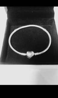 Authentic Pandora Moments silver bracelet heart clasp