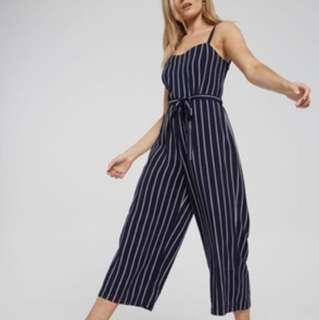 NAVY BLUE STRIPE SPAG SLEEVELESS JUMPSUIT CULOTTES