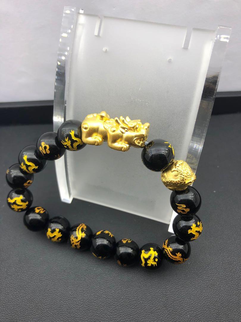 ebc6cf7e3 999 gold pixiu bracelet with dragon gold ball, Men's Fashion ...
