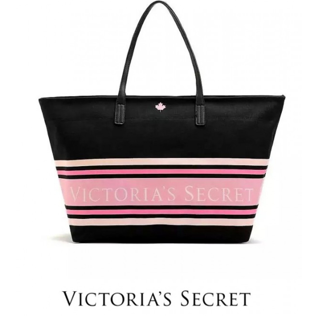 53a8dbd0eaa1 AUTHENTIC VICTORIA S SECRET CANVAS LARGE TOTE (BLACK) READY STOCK ...