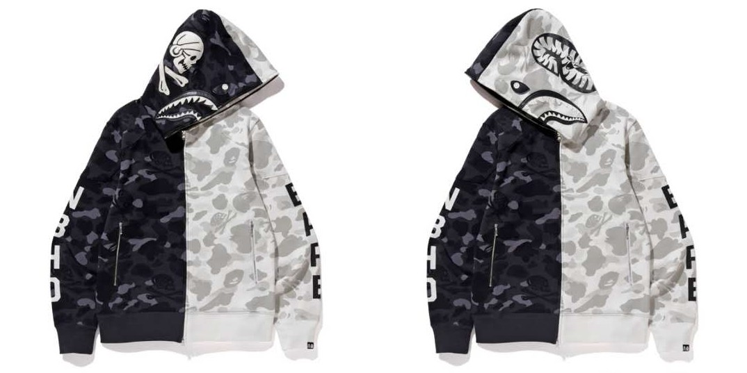 9e477b8e2 Bape x Nbhd Camo Shark Full Zip Hoodie, Men's Fashion, Clothes, Tops ...