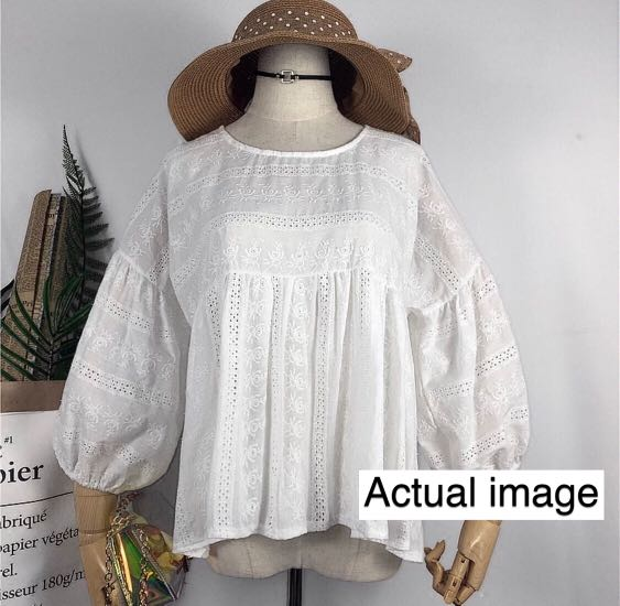 26c36681c276f1 BN Lace Eyelet White Blouse, Women's Fashion, Clothes, Tops on Carousell