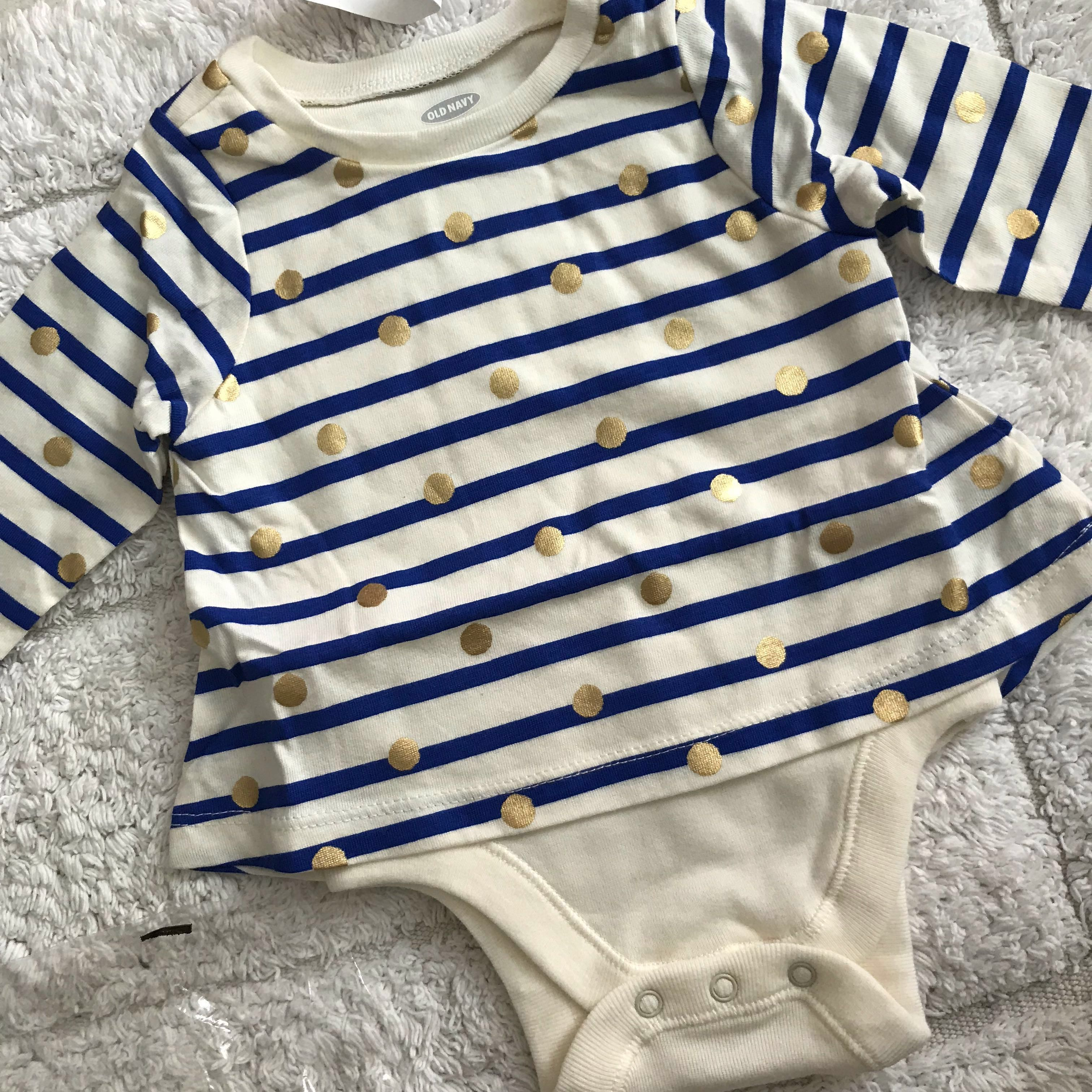 73550f478 BN Old Navy Baby Girl Festive Gold Dots and Stripes Romper One Piece ...