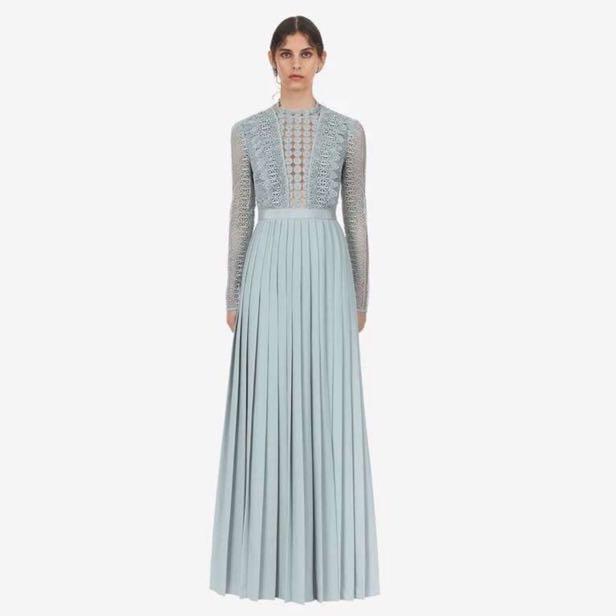 794c048c843 BNWT Authentic Self Portrait Blue Spiral Lace Maxi Dress