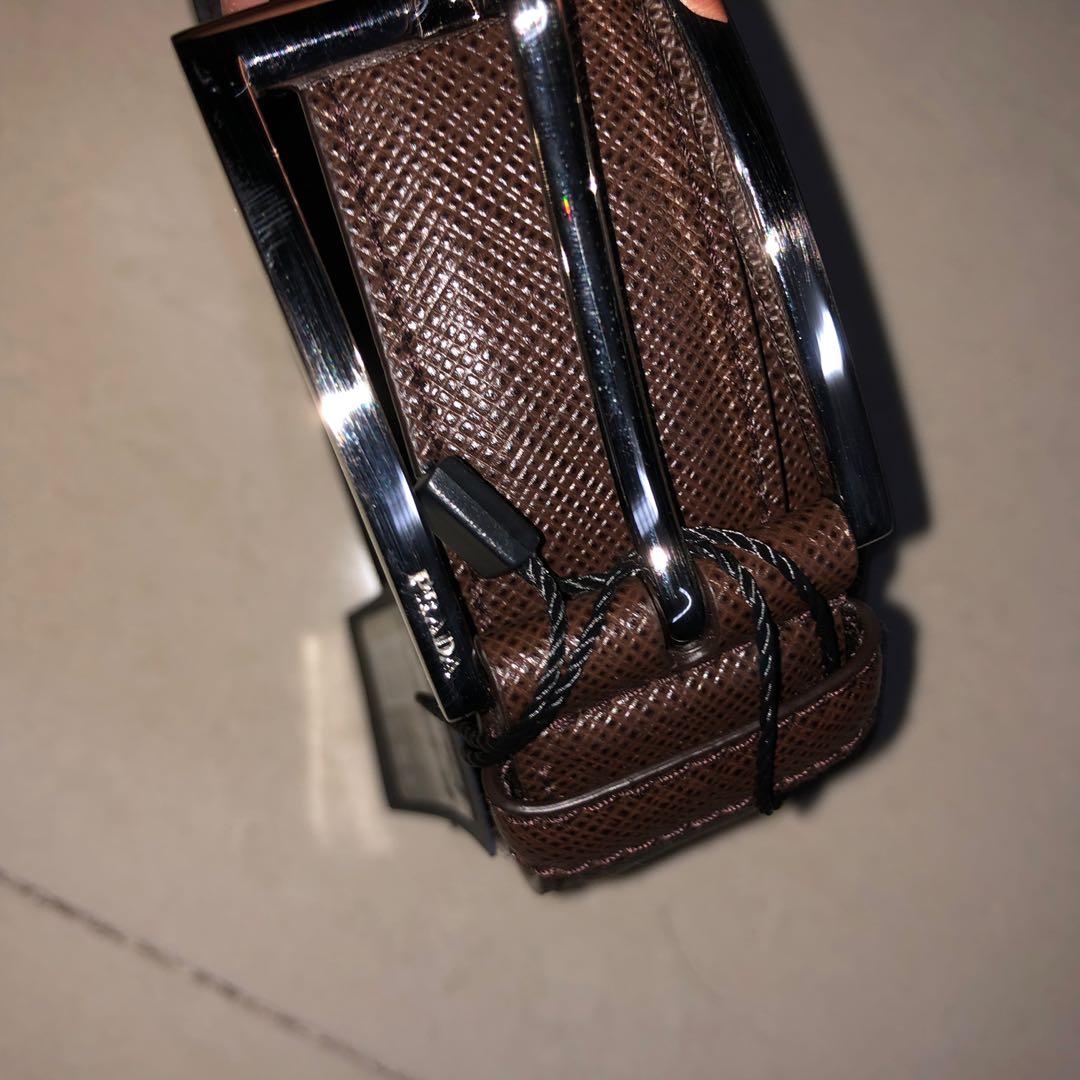 c65b88421963 Brand New Prada Brown Saffiano Leather Men Belt Size 90