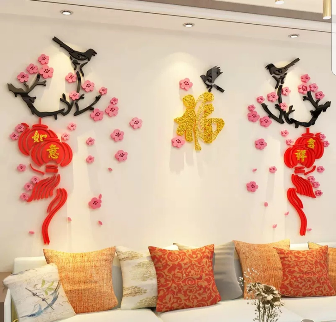 Chinese new year cny 3d acrylic wall decoration furniture home decor others on carousell