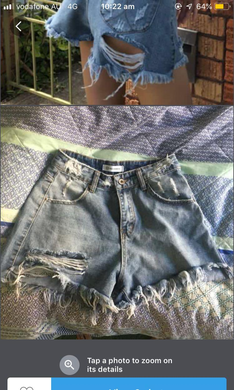 Denim distressed shorts and belt
