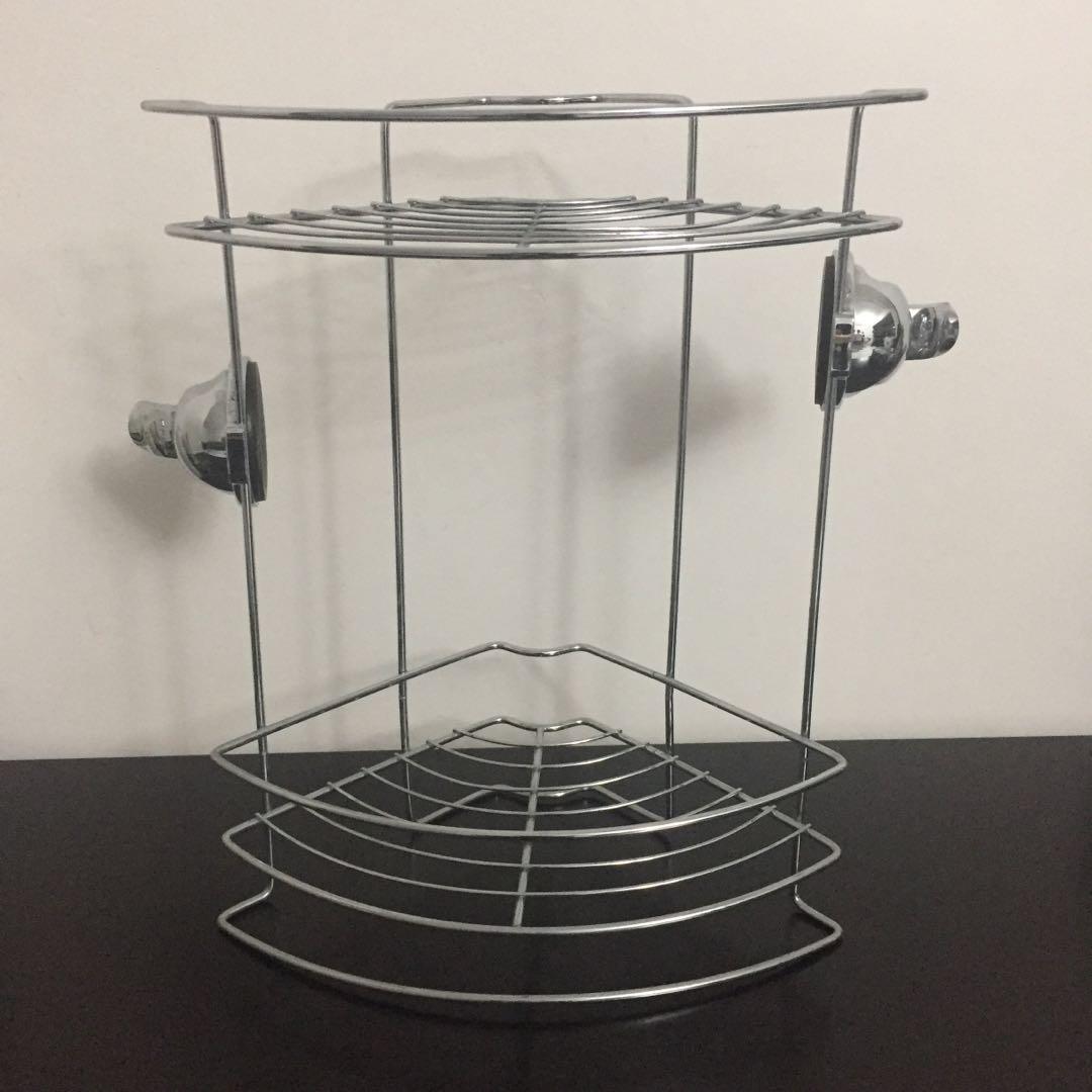 Feca Stainless Steel Suction Cup Corner Shower Shelf Furniture