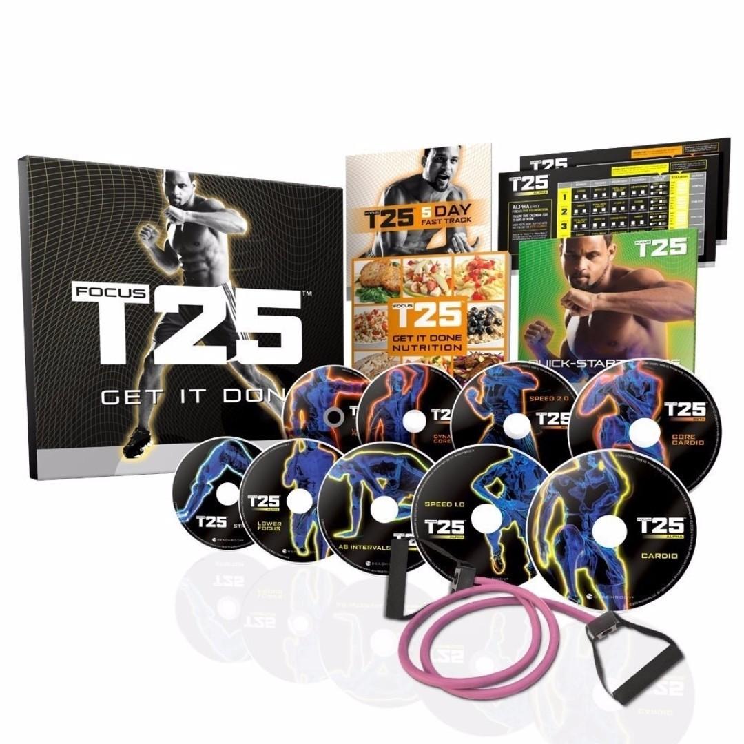 Focus T25 Workout Alpha+Beta+Gamma & Resistance Bands -Brand NEW DVDs