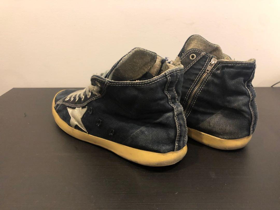 Golden Goose Deluxe Brand Blue Washed Denim High Top Trainers