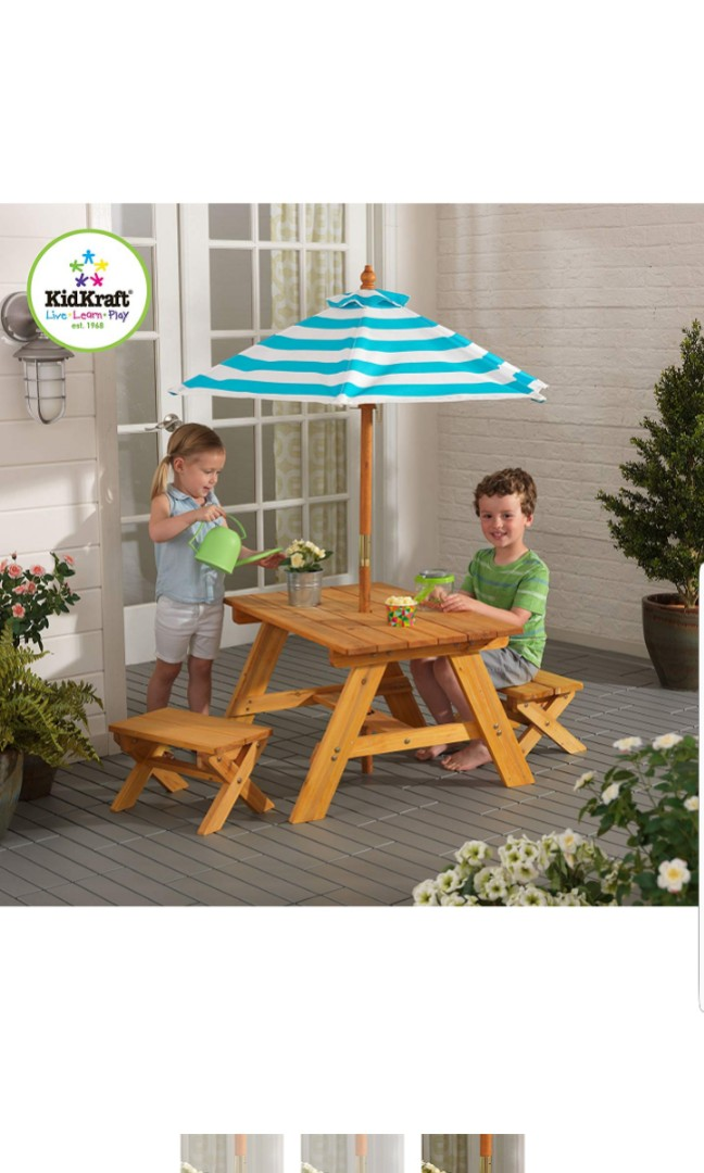 Kidkraft Kids Children Outdoor Table With 2 Benches And Umbrella