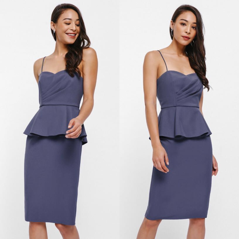 9d0ad7bf9cb1 Love Bonito Evangelina Ruch Bodice Peplum Dress, Women's Fashion ...