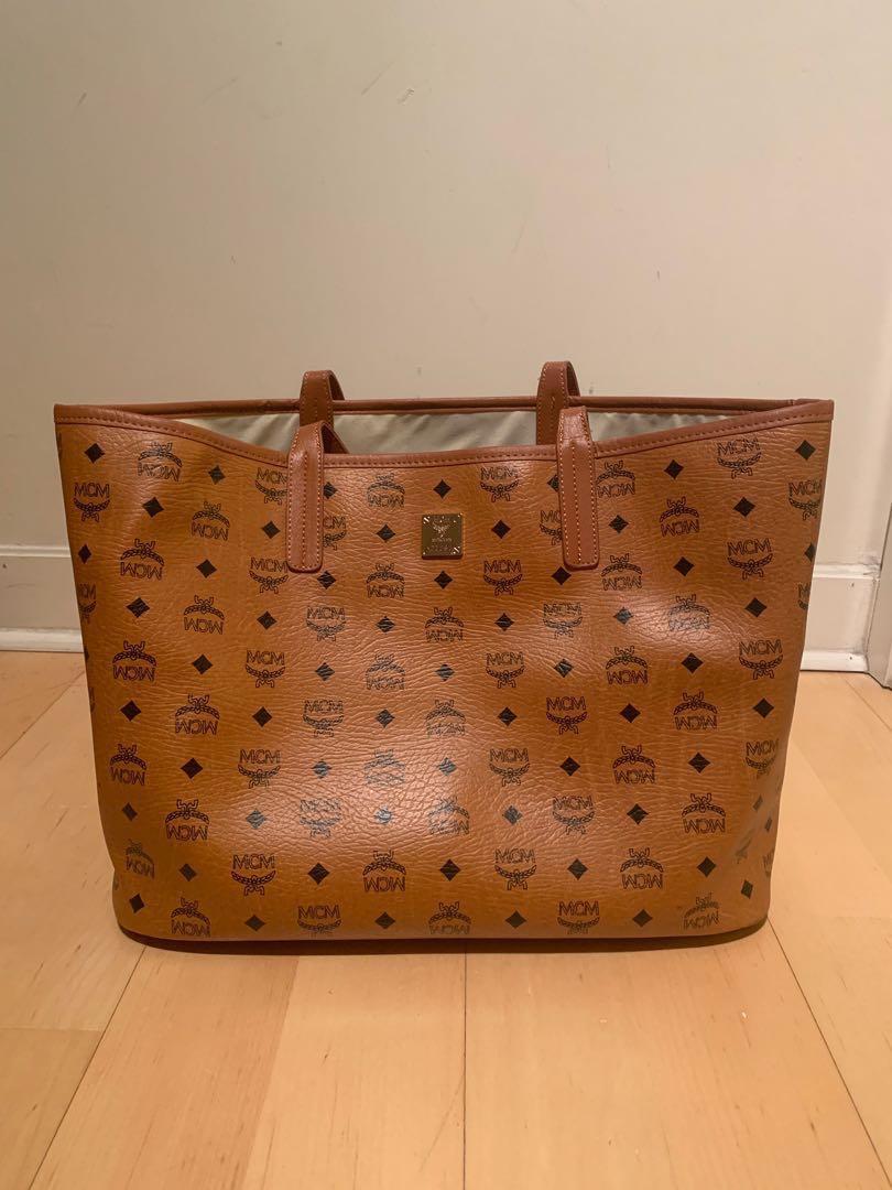 MCM designer large brown tote shoulder bag