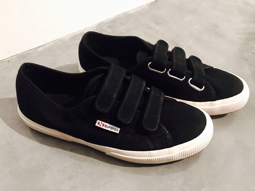 ORIGINAL Black Superga Strap Velcro